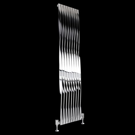 Aeon Twister Brushed and Polished Steel Radiator 1800mm high x 400mm wide