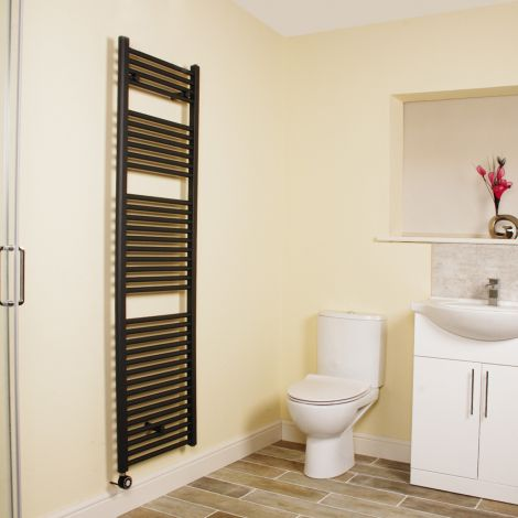 Anthracite Straight Ladder Tall Thermostatic Electric Towel Rail 1700mm high x 500mm wide