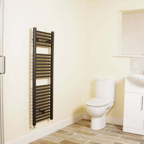 Anthracite Straight Ladder Narrow Electric Towel Rail 1200mm high x 400mm wide