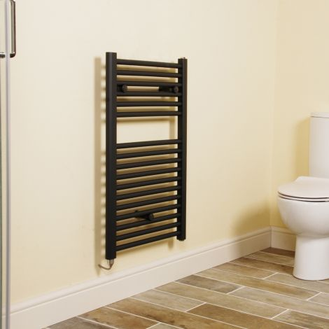 Anthracite Straight Ladder Short Electric Towel Rail 800mm high x 500mm wide