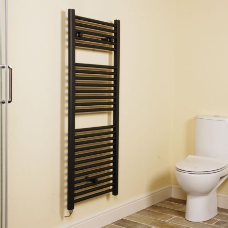 Anthracite Straight Ladder Electric Towel Rail 1200mm high x 500mm wide