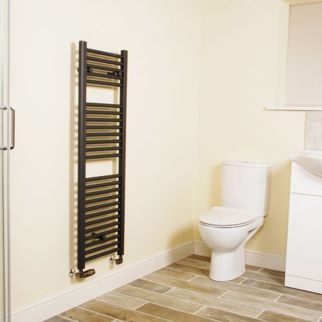 Anthracite Straight Ladder Narrow Heated Towel Rail 1200mm high x 400mm wide