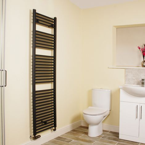 Anthracite Straight Ladder Tall Heated Towel Rail 1700mm high x 500mm wide