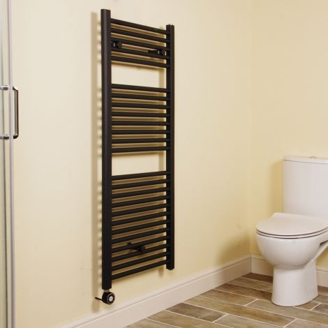 Anthracite Straight Ladder Thermostatic Electric Towel Rail 1200mm high x 500mm wide
