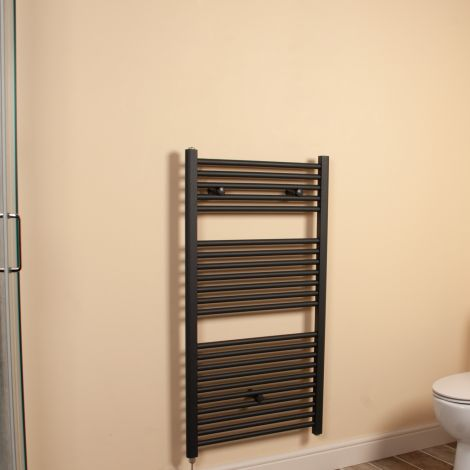 Anthracite Straight Ladder Electric Towel Rail 1100mm high x 600mm wide