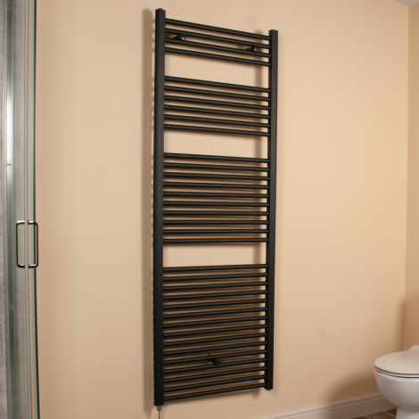 Anthracite Straight Ladder Large & Tall Electric Towel Rail 1700mm high x 600mm wide