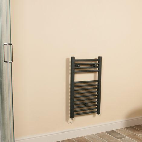 Anthracite Straight Ladder Short & Narrow Electric Towel Rail 700mm high x 400mm wide