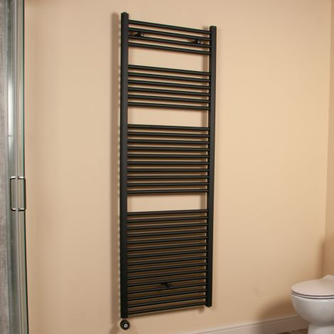 Anthracite Straight Ladder Large & Tall Thermostatic Electric Towel Rail 1700mm high x 600mm wide