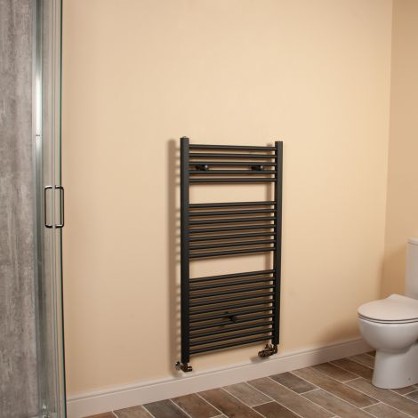 Anthracite Straight Ladder Heated Towel Rail 1100mm high x 600mm wide