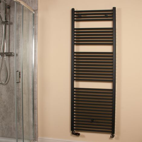Anthracite Straight Ladder Large & Tall Heated Towel Rail 1700mm high x 600mm wide