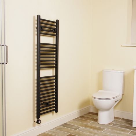 Anthracite Straight Ladder Thermostatic Narrow Electric Towel Rail 1200mm high x 400mm wide