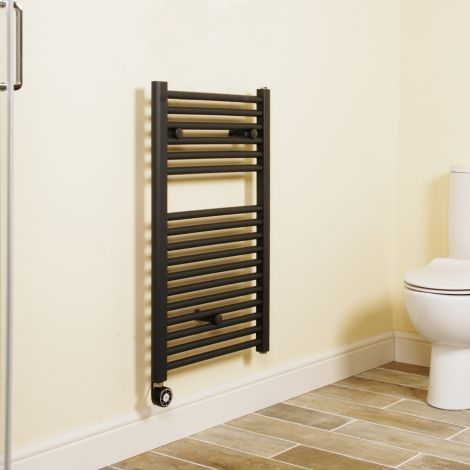 Anthracite Straight Ladder Short Thermostatic Electric Towel Rail 800mm high x 500mm wide