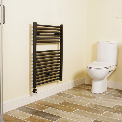 Anthracite Straight Ladder Short Thermostatic Electric Towel Rail 800mm high x 600mm wide