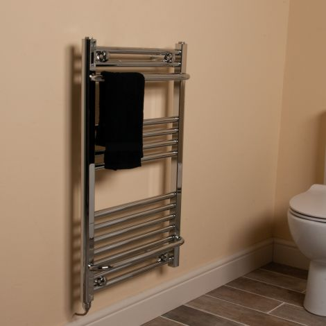 Chrome Area Plus Electric Towel Rail 800mm high x 500mm wide