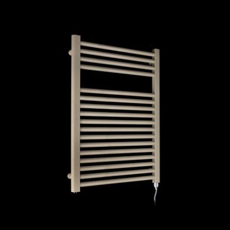 Bisque Deline Beige Quartz Short Electric Towel Rail - 786mm high x 600mm wide