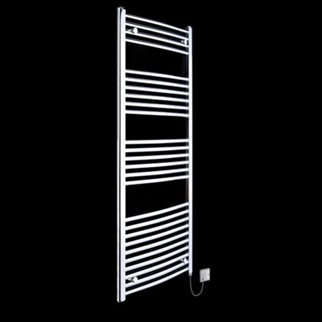 Chrome Curved Ladder Slim Electric Towel Rail 1600mm high x 400mm wide