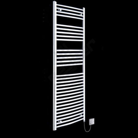 Chrome Curved Ladder Tall Electric Towel Rail 1800mm high x 400mm wide