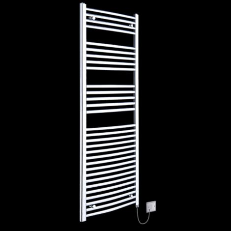 Chrome Curved Ladder Tall Electric Towel Rail 1800mm high x 500mm wide