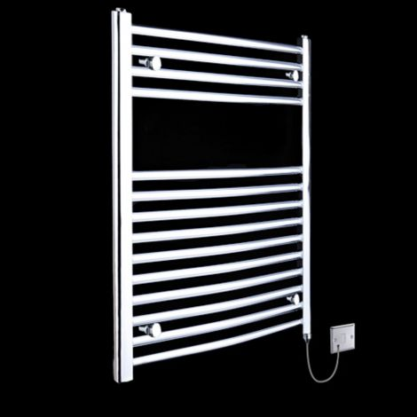 Chrome Curved Ladder Electric Towel Rail 800mm high x 500mm wide