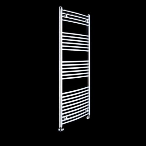 Chrome Curved Ladder Slim Heated Towel Rail 1600mm high x 400mm wide