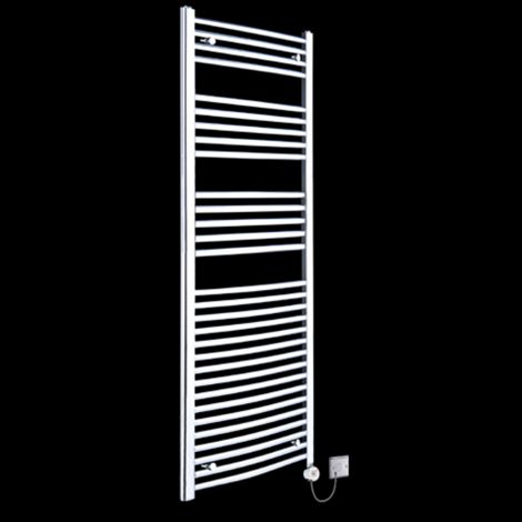 Chrome Curved Ladder Tall Thermostatic Electric Towel Rail 1800mm high x 500mm wide