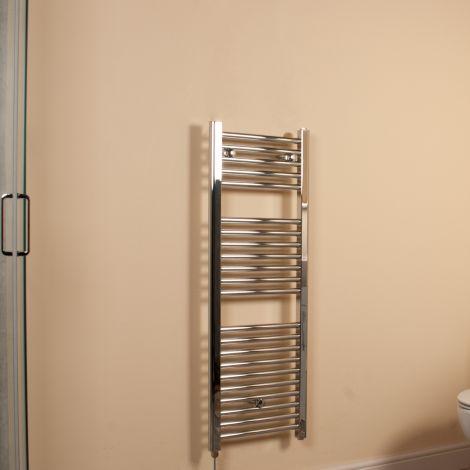 Chrome Straight Ladder Slim Space Saving Electric Towel Rail 1100mm high x 400mm wide