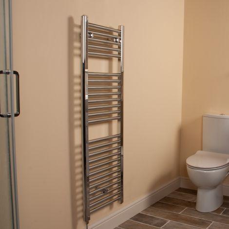 Chrome Straight Ladder Slim Space Saving Electric Towel Rail 1200mm high x 400mm wide