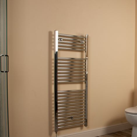 Chrome Straight Ladder Electric Towel Rail 1200mm high x 500mm wide
