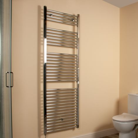 Chrome Straight Ladder Tall Large Electric Towel Rail 1700mm high x 600mm wide