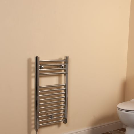 Chrome Straight Ladder Short Thin Electric Towel Rail 700mm high x 400mm wide