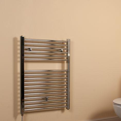 Chrome Straight Ladder Short Electric Towel Rail 800mm high x 600mm wide