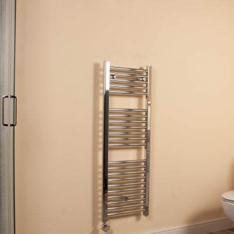 Chrome Straight Ladder Slim Space Saving Thermostatic Electric Towel Rail 1100mm high x 400mm wide