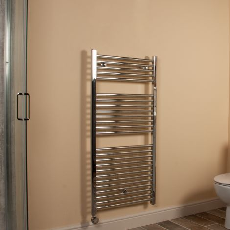 Chrome Straight Ladder Thermostatic Electric Towel Rail 1200mm high x 600mm wide