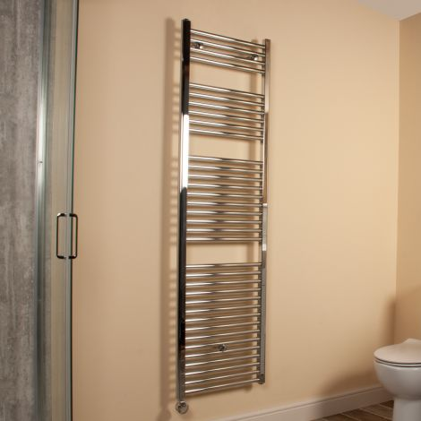 Chrome Straight Ladder Tall Thermostatic Electric Towel Rail 1700mm high x 500mm wide