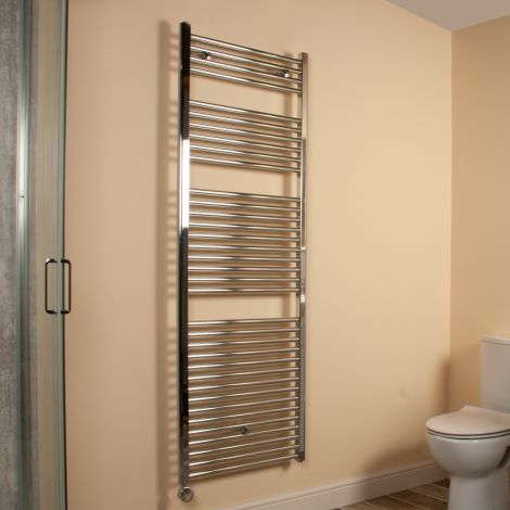 Chrome Straight Ladder Tall Large Thermostatic Electric Towel Rail 1700mm high x 600mm wide,Thumbnail Image,