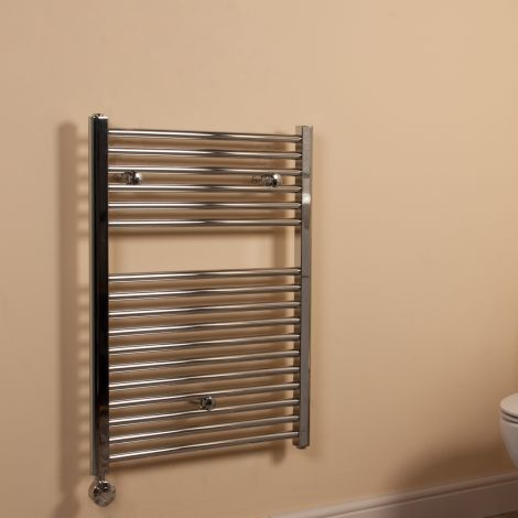Chrome Straight Ladder Short Thermostatic Electric Towel Rail 800mm high x 600mm wide