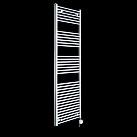 Chrome Straight Ladder Tall Thermostatic Electric Towel Rail 1720mm high x 450mm wide