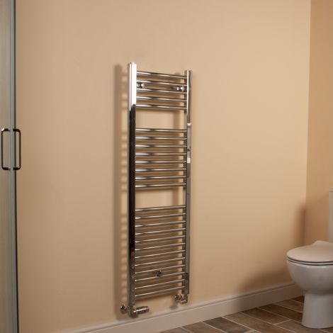 Chrome Straight Ladder Slim Space Saving Heated Towel Rail 1200mm high x 400mm wide