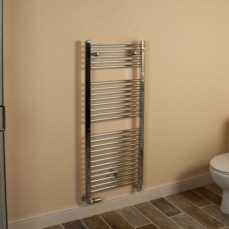 Chrome Straight Ladder Heated Towel Rail 1200mm high x 500mm wide