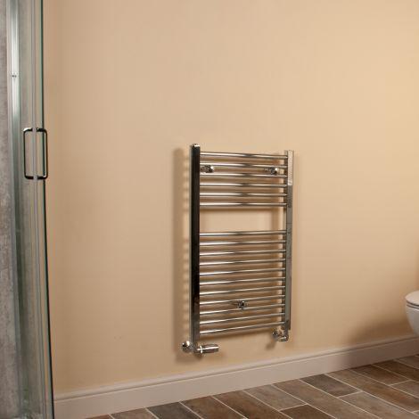 Chrome Straight Ladder Compact Heated Towel Rail 800mm high x 500mm wide
