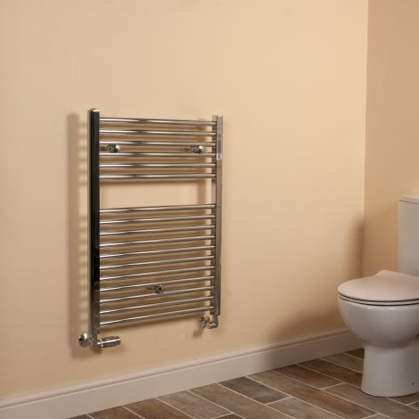 Chrome Straight Ladder Short Heated Towel Rail 800mm high x 600mm wide