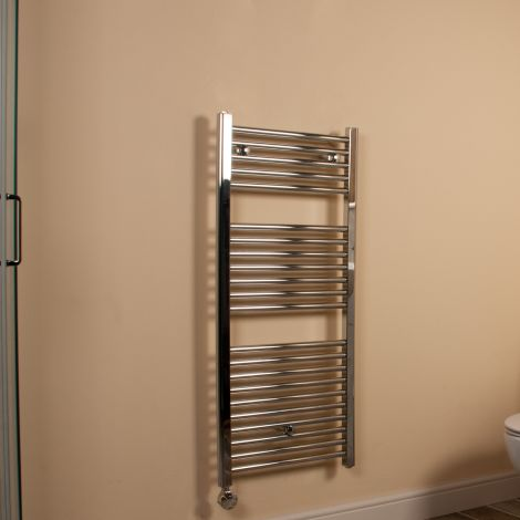 Chrome Straight Ladder Thermostatic Electric Towel Rail 1100mm high x 500mm wide,Thumbnail Image,Small Image