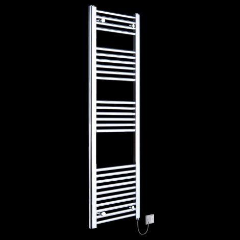 Chrome Straight Ladder Tall Slim Electric Towel Rail 1600mm high x 400mm wide