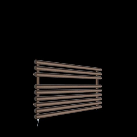 Cirtowelo Chocolate Brown Short Low Level Electric Towel Rail 600mm high x 900mm wide