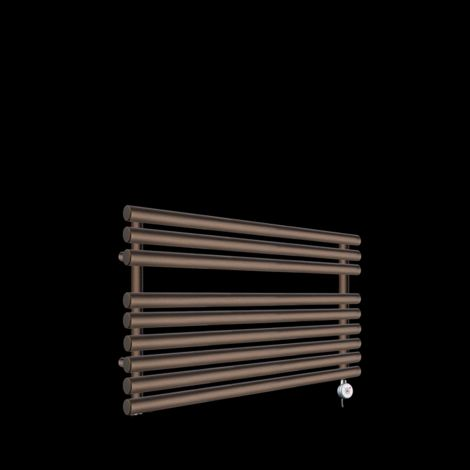 Cirtowelo Chocolate Brown Short Low Level Thermostatic Electric Towel Rail 600mm high x 900mm wide