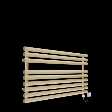 Cirtowelo  Light Cream Short Low Level Thermostatic Electric Towel Rail 600mm high x 900mm wide