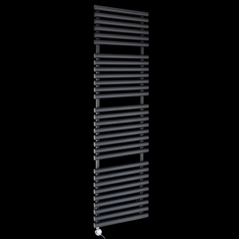 Cirtowelo Black Tall Large Thermostatic Electric Towel Rail 1800mm high x 520mm wide