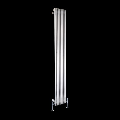 Cubo Brushed Steel Single Panel Radiator 1800mm high x 230mm wide