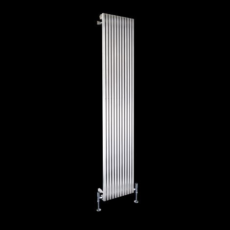 Cubo Brushed Steel Single Panel Radiator 1800mm high x 350mm wide
