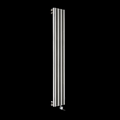 Cylinder Brushed Steel Slim Ecodesign Electric Radiator 1500mm high x 270mm wide